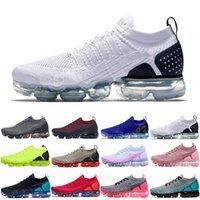 Nike Air VaporMax Flyknit 2.0 2018 2021 En Kaliteli MOC Laceless 2.0 Klasik Rahat Ayakkabılar Üçlü Siyah Tasarımcı Erkek Kadın Sneakers Fly Beyaz Örgü Yastık Trainers Zapatos 36-45