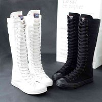 Designer Spring Autumn Women Shoes Canvas Casual High Top Long Boots Lace-Up Zipper Comfortable Flat Sneakers