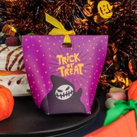 Gift Wrap Pumpkin Ghost Pattern Kids Reward With Ribbon Sweets Bag Halloween Candy Box Party Decoration Supplies Cookies Boxes