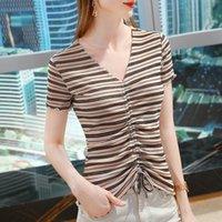 Women's T-Shirt V-neck Short Sleeve Summer 2021 Fashion Mesh Bottoming Shirt Ear Side Drawstring STRIPE TOP