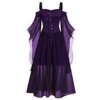 Casual Dresses Vintage mittelalterliche Robe Cosplay Kostüm Frau plus Größe kalte Schulter Schmetterlingsärmeln Lace Up Halloween Prinzessin Kleid # G3