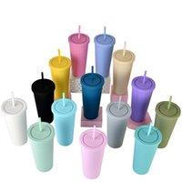 Acrílico 22oz flaco taza de café plástico doble pared agua taza taza BPA libre aislado vaso recto con paja
