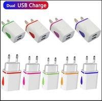 Flash Light Dual usb ports Universal US EU AC home wall charger adapter power 2.1A+1A for Samsang Galaxy HTC Xiaomi HTC