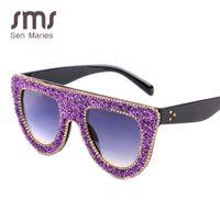 2021 Crystal Cat Eye Sunglasses Women Vintage Brand Designer Gafas De Sol Silver Red Plain Transparent Flat Top Female Glasses