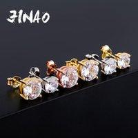 Jinao 4.6.8mm Rodada Corte CZ Cz Brincos Gold 925 Esterlina Prata Jóias Hip Hop Moda Gelado de Zircônia Cúbica para Mulheres 210324