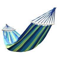 Hammocks 1-2 Person Outdoor Portable Hammock Home Garden Travel Sports Camping Canvas Stripe Hang Swing Single Bed Hammac
