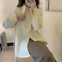 Women's Blouses & Shirts 2021 All Match Minimalist Fashion Brief Oversize Solid Tops Retro Femme Streetwear Gentle Elegant Chic