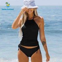 Beachsissi Frauen Halter Hals Multicolortankini Set Nette Mädchen Verkauf Bikini Kordelzug Badeanzug 2 Stück Badewäsche 210625