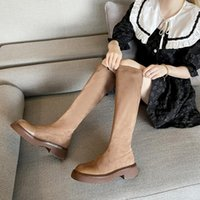 Boots 2021 Winter Fashion Knee High Snow Stretch Botas Sock Female Warm Gladiator Chunky Designer Mid Heels Plush Zapatos