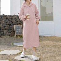 ZANZEA Fashion Long Sleeve Hooded Dress Women Winter h Fluffy Vestidos Autumn Hoodies Sweatshirt Dress Fleece Pullover Robe G1011