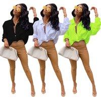 2021 Осень Длинный рукав Блуза Рубашка Женщины Элегантные Белые Кнопки Назад Письмо Печать Топы Повседневная Простое Свободные Прямые Bluss