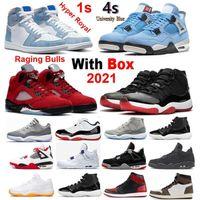 Dark Powder Blue 4s Université 1S Basketball Chaussures 2021 OG Hyper Royal Raging Bulls Rouge 5 Black Hommes Femmes Sneakers Bred 11 Fire 6S Vente en gros avec boîte