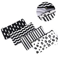 Black Striped Pencil Bag Pocket Cosmetic Pencils Pens Holder Storage Case Bags Office School Supplier LLA7340