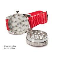 Fabrik Großhandel Andere Rauchen Zubehör Tragbare Mode Creative mit Uhrenfunktion 2 Schicht Zinklegierung Zigarettenschleifungsschleifer