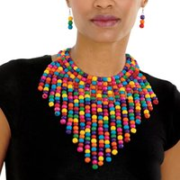 Colorful Wooden Bead Tassel Necklace Set Ethnic Style Exaggerated Multi-Layer Necklace Amazon Ornament African Necklace