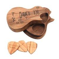 Newgift التفاف الغيتار يختار خشبية اختيار مربع حامل جامع مع 3 قطع وسيط الخشب الملحقات أجزاء أداة الهدايا الموسيقى EWD7548