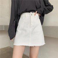 스커트 여성 청바지 높은 허리 데님 트렌디 레트로 미니 90s Streetwear 하단 Y2K 주름 치마 여름 소녀 jupe