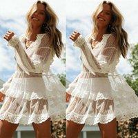 Yeni Yaz Kadın Bikini Kapak Yukarı Çiçek Dantel Hollow Tığ Mayo Kapak-Ups Mayo Beachwear Tunik Beach Dress1