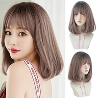 Synthetic Wigs Short Bob Wig With Bangs For Women Black Pink Brown Shoulder Length Hair Party Daily Use