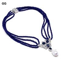 4 Strands Collier Blue Jade Collier Culture Blanc Keshi Pearl CZ Pendentif à la main pour les femmes