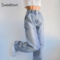 Women's Jeans Sweetown Streetwear Woman High Waist Cargo Pants Casual Loose Denim Trousers 90s Aesthetic Korean Fashion Baggy Sweatpants
