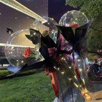 الأزياء الصمام بالون مضيئة باقة فقاعة شفافة روز عباد الشمس زنبق مع عصا led بوبو الكرة عيد الحب هدية الزفاف حزب ديكور g50kuva