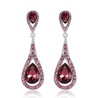 High quality Charm vintage drop crystal earrings pendant in 4 colors wholesale bridal accessories