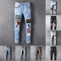 21SS Mens Designer Designer Jeans Distressed RIPPED Biker Slim Dritto Denim per uomo Stampa Army Fashion Mans Skinny Pants 2021