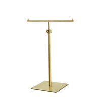 T-shape Silver Metal Gold Multifunction Tabletop Scarf Display Holder For Silk Scarf Tie Hanging Hook Stand Rack