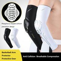Compressão braço manga esportes aquecedores honeycomb anti colisão pressão cotovelo pad armadura outdoor basquete futebol montando engrenagem protetora