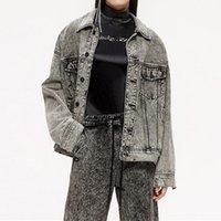 Women's Jackets Vintage Grey Denim Jean Jacket 2021 Fall Boyfriend Style Womens Turn Down Collar Single Breasted Loose Jeans Coat