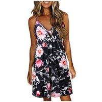Casual Dresses Women's V-neck Sleeveless Dress Straps Backless Flower Print Beach Summer Women Vestidos De Verano #PY