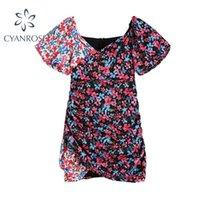 الصيف لون التباين تصميم النساء اللباس الفرنسية نمط خمر الأزهار طباعة الخامس الرقبة قصيرة الأكمام مصغرة الإناث 210515