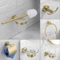 Conjunto de acessórios de banho Hardware do banheiro escovado ouro titular titular de escova de roupão gancho papel sabonete prato montagem de parede acessórios