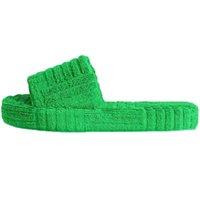 Clásicos mujeres de piel verde zapatillas estilo de toalla deslizadores calvas zapatillas moda lujos diseñadores mocasines peluches engranaje engranaje plano apto para mujer