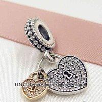 New 2016 Valentine Day 925 Sterling Silver & 14K Real Gold Love Locks Dangle Charm Bead Fits European Pandora Jewelry Bracelets & Necklace