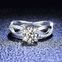 inbeaut 925 Silver Excellent Cut D Color Pass Diamond Test 1 ct Mossanite Twist Waist Ring Classic Princess Wedding Jewelry Gift 210512