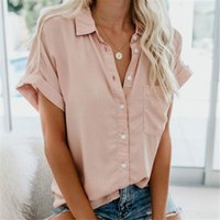Turn-down Collar Button Summer Women's Blouses Shirt Feminine Blouse Summer Short Sleeve Female Blouse 2021 Women's Shirt