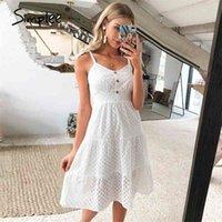 Simple Survey Support Белые Женщины Летнее Платье Платье Bow-Щель Спагетти Вышивка Женский MIDI Платье Без спинки Прайс-Платье Vestidos 210325