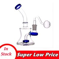 mini Glass Beaker Bongs Showerhead Perc Bong 7 Inch Recycler Dab Rig Water Pipes Small Oil Rigs with 14mm male glass oil burner pipe