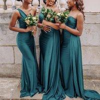 Один плечевые подружки платья для подружки невесты русалка горничные честь платья свадебные гость формальное платье ленты черные африканские невесты на заказ