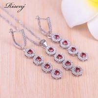 Prata Risenj Lucky Color Color Vermelho Cúbico Zircônia Jóias conjunto para mulheres brincos colar pulseira conjunto engag
