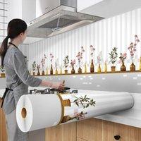 Recubrimiento de aluminio Impermeable Cocina moderna Cocina Sala de estar Muebles de escritorio Auto adhesivo Contacto Papel Decoración de Hogar Fondos de pantalla