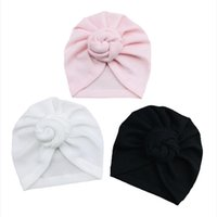 Caps Hüte 0-3YR Baby Waffel Gestrickte Donut Hut Weiche Turban für geborene Festkind Kleinkind Bowknot Beanie Headwrap