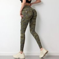 Camouflage Yoga Shaping Pants Women Fitness Leggings Workout Sports With Pocket Sexy Push Up Gym Wear Elastic Slim
