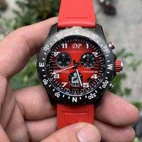 Лучшее качество повседневные часы черный циферблат VK аккумулятор хронографов кварцевые наручные часы мужские часы на оранжевом резиновом ремень DP завод 1884