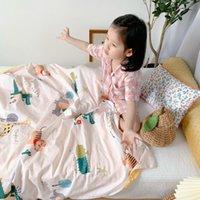 Blankets Kids Blanket 120*150cm A Side 100% Cotton B Magic Fleece Throw Baby Body Cover Pink Bedding Boys Girl Cartton Quilt