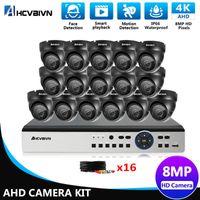 Inicio CCTV Cámara Sistema de seguridad Kit 4K DVR 16CH Video al aire libre Cámaras de vigilancia 8MP Full HD domo Kits inalámbricos