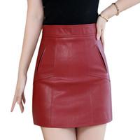 Faldas SMIAO Elegante cintura alta de la cintura de otoño invierno de piel de imitación de la oficina de la oficina de la oficina de la línea de la línea de la línea de la línea de un tamaño negro / rojo Mini falda corta