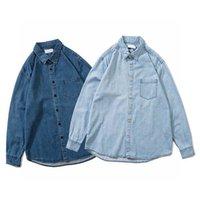 남성 캐주얼 셔츠 봄 일본식 코튼 폭격기 파일럿 긴 소매 블루 얇은 데님 셔츠 남자 Jean Coat Streetwear 카우보이 의류
